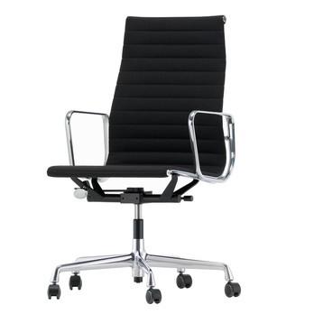 Vitra - EA 119 Alu Chair Bürostuhl/ Gestell poliert - Stoff nero schwarz Hopsak 66/Sitzfläche Hopsak 66 nero/BxHxT 58x113,5x58,5cm/Gestell Alu poliert/ Rollen weich gebremst