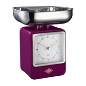 Wesco - Wesco Retro Waage mit Uhr - brombeer/15x27x13cm