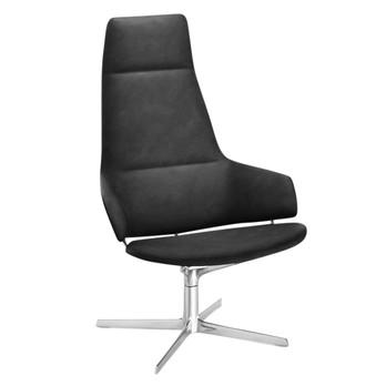 Arper - Aston Loungesessel - schwarz/Weichleder 007/Gestell Aluminium/ohne Rückstellmechanismus