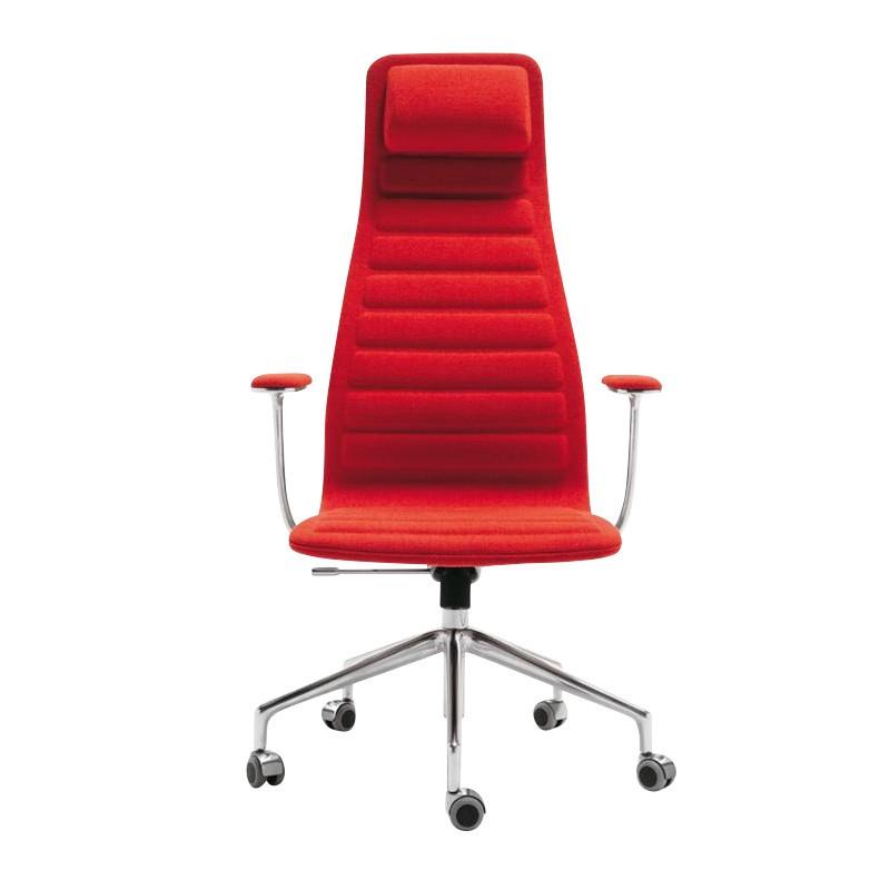 Cellini Lotus High Office Chair With Wheels Red Frame Aluminium Textile Polaris