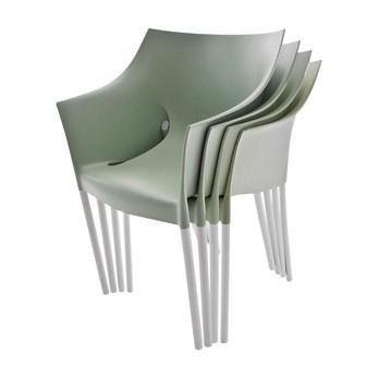 Kartell - Dr. No Stuhl 4er Set (gleiche Farbe) - fenchelgrün/Polypropylen/Gestell aluminium