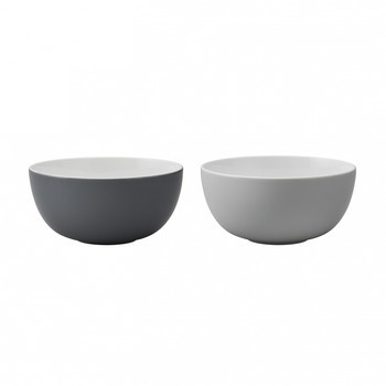 Stelton - Emma Schüssel medium 2er Set - grau/weiß/LxBxH 17.5x17.5x7cm