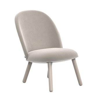 Normann Copenhagen - Ace Lounge Chair Velour  - beige/Gestell Buche gebeizt/H x B x T: 80 x 56 x 70cm