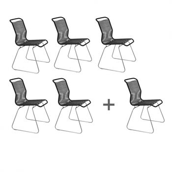 Montana - Aktionsset '5+1' Panton One Stuhl - schwarz/Gestell stahl