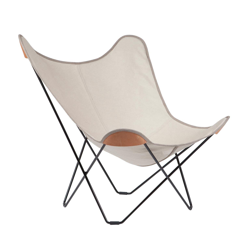 Cuero   Canvas Mariposa Butterfly Chair Outdoor   Natural/Hemp Nature 42/ Frame Black ...