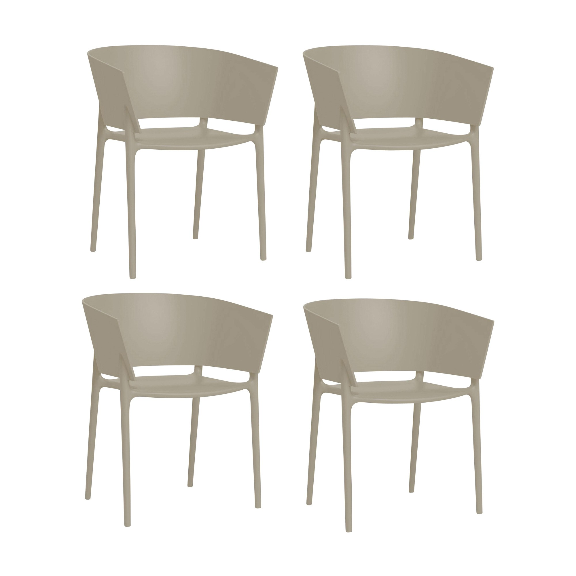 Vondom africa armchair 4 piece set ecru matt h x w