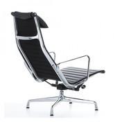 Vitra - EA 124 Aluminium Chair Drehsessel - Leder schwarz/Gestell aluminium poliert/mit Filzgleitern