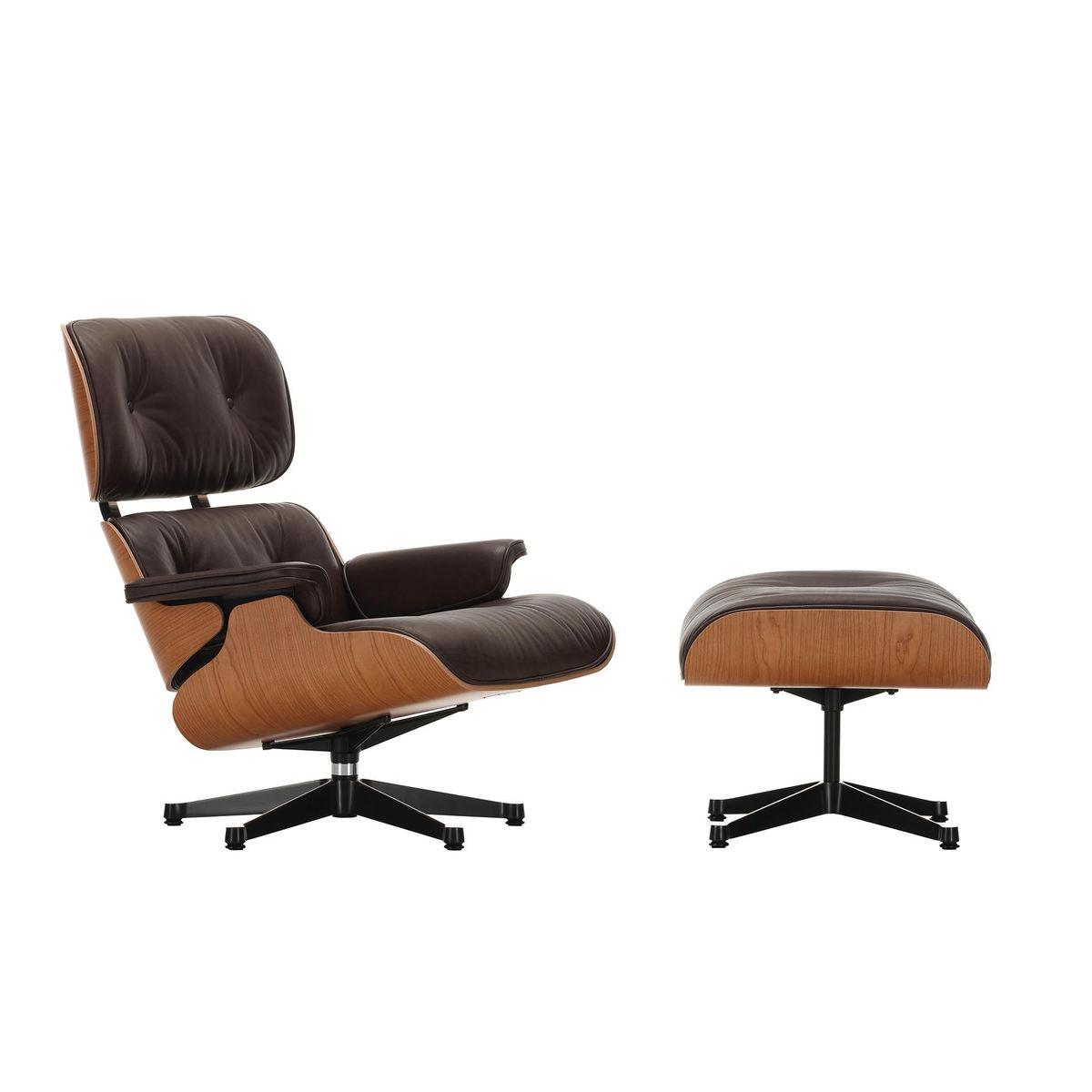 vitra eames lounge chair sessel ottoman leder natural chocolateschale amerikanischer kirschbaum - Bergroer Sessel Und Ottomane