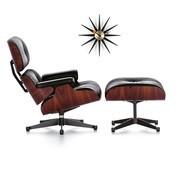 Vitra - Eames Lounge Chair Set+Sunburst Clock gratis - Leder Premium schwarz/Schale Santos Palisanderholz/Gestell poliert/Seiten schwarz/Sunburst Clock in schwarz/messing gratis!