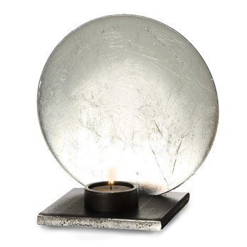 Catellani & Smith - Luna Candle Holder - silver/aluminium/with candle/LxW 11x11cm/Ø 17cm