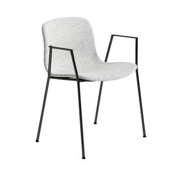 HAY - About a Chair 19 Stuhl gepolstert Armlehnen - hellgrau Stoff Hallingdal 116/Gestell Stahl schwarz lackiert/H x B x T: 78 x 60 x 50cm