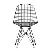 Vitra - Eames Wire Chair DKR Stuhl 43cm - basic dark schwarz/Stahl/Eiffelturmgestell/mit Filzgleitern/für Innen-und Außenbereich