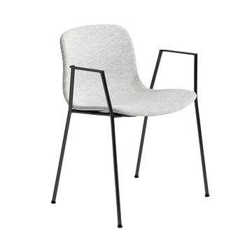 - About a Chair 19 Stuhl gepolstert Armlehnen - hellgrau Stoff Hallingdal 116/Gestell Stahl schwarz lackiert/H x B x T: 78 x 60 x 50cm