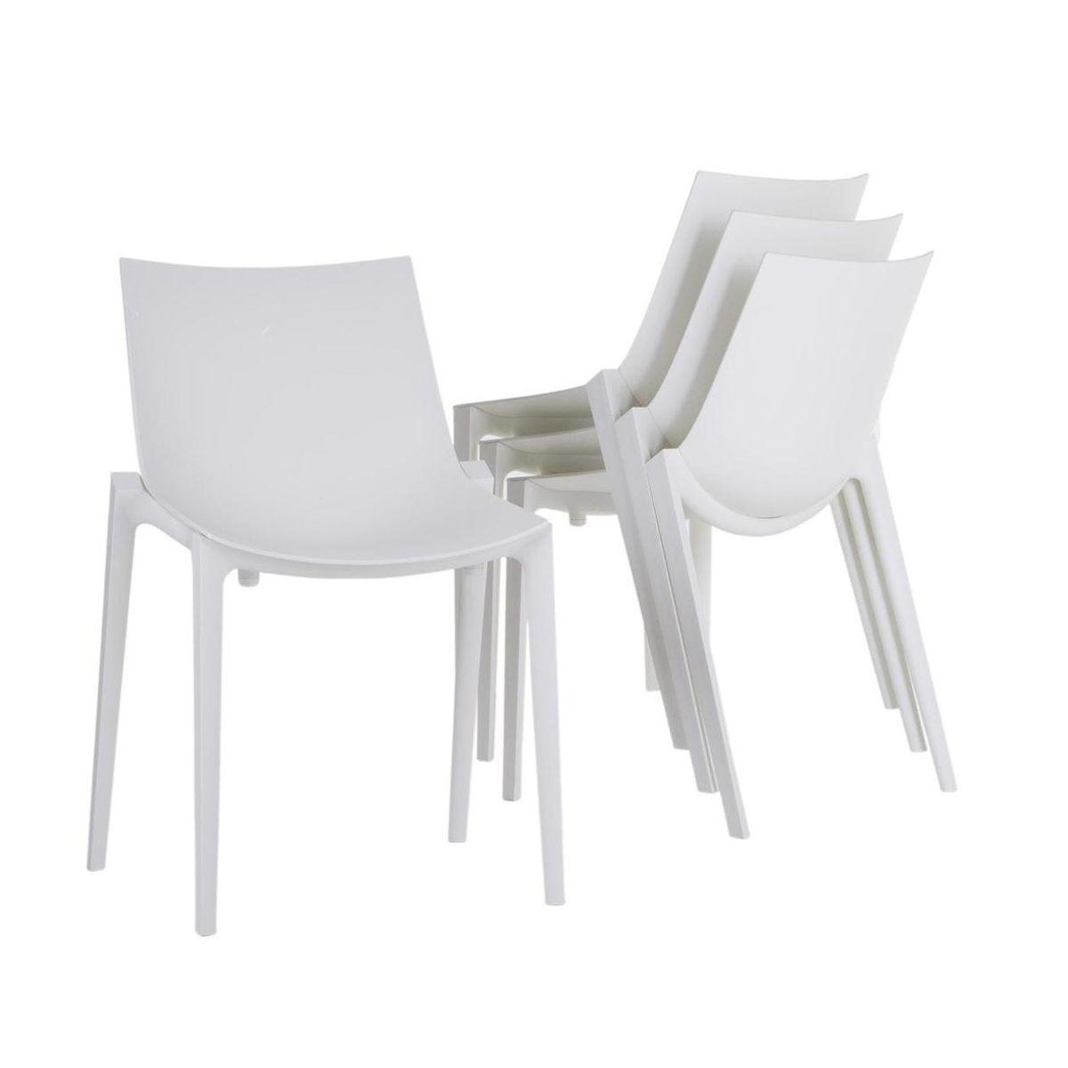 Basic chair design - Magis Zartan Basic Chair 4 Piece Set With Seat Pads White 4