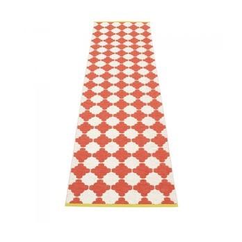 pappelina - Marre Teppich 70x375cm - korallenrot/vanille/mustard stripe/wendbar