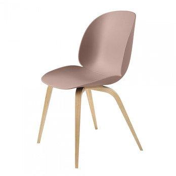 Gubi - Beetle Dining Chair Stuhl mit Eichengestell - süßes pink/Sitz Polypropylen-Kunststoff/BxHxT 52x87x55cm/Gestell Eiche