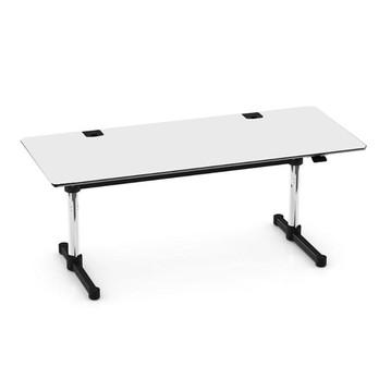 USM Haller - USM Kitos M Plus Schreibtisch - perlgrau/Kunstharz/höhenverstellbar H: 70-120cm