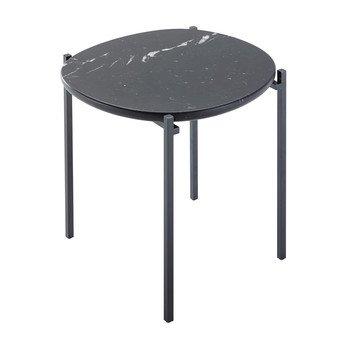Zanotta - Niobe Beistelltisch - schwarz/Tischplatte Marquinia Marmor 3cm/Gestell schwarz/LxBxH 48x46x50cm
