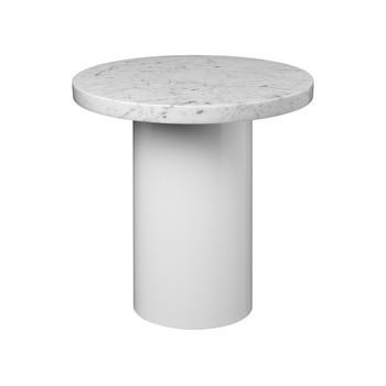 e15 - e15 CT09 Enoki Beistelltisch  - weiß/Tischplatte Carrara Marmor/H:40cm x Ø40cm/Gestell weiss
