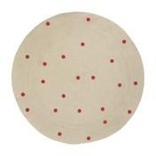 ferm LIVING - Jute Red Dots Teppich - natur/rot/rund/Ø 100cm