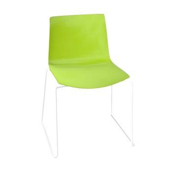 Arper - Catifa 46 0278 Stuhl einfarbig Kufe weiß - grün/Außenschale glänzend/innen matt/Gestell weiß matt V12/neue Farbe