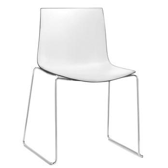 Arper - Catifa 46 0278 Stuhl zweifarbig Kufe Chrom - weiß/schwarz/Außenschale glänzend/innen matt/Gestell verchromt