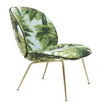 Gubi - Beetle Lounge Chair Fabric Brass Base