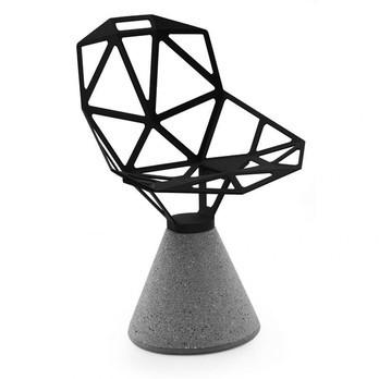 Magis - Chair One Drehstuhl mit Zementfuß - schwarz/lackiert/Sitz: 5,2kg/Fuß: 34kg/für den Außenbereich geeignet