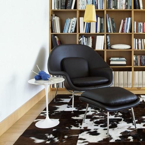 Knoll International - Womb Chair Relax Ledersessel Gestell chrom