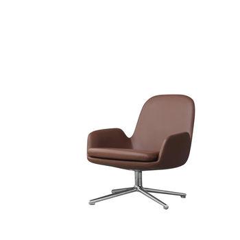 Normann Copenhagen - Era Lounge Chair Low Drehstuhl Leder Alu - brandy braun Leder/Gestell aluminium/H x B x T: 77 x 83 x 83 cm