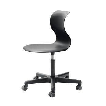 Flötotto - Pro 6 Drehstuhl mit Rollen - schwarz/Gestell Polyamid schwarz/Sitzhöhe/höhenverstellbar 42 - 55cm