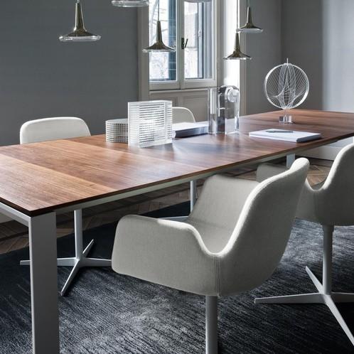la palma - Pass S131 Drehstuhl mit Armlehnen - beige/Stoff Esedra 01/Gestell weiß
