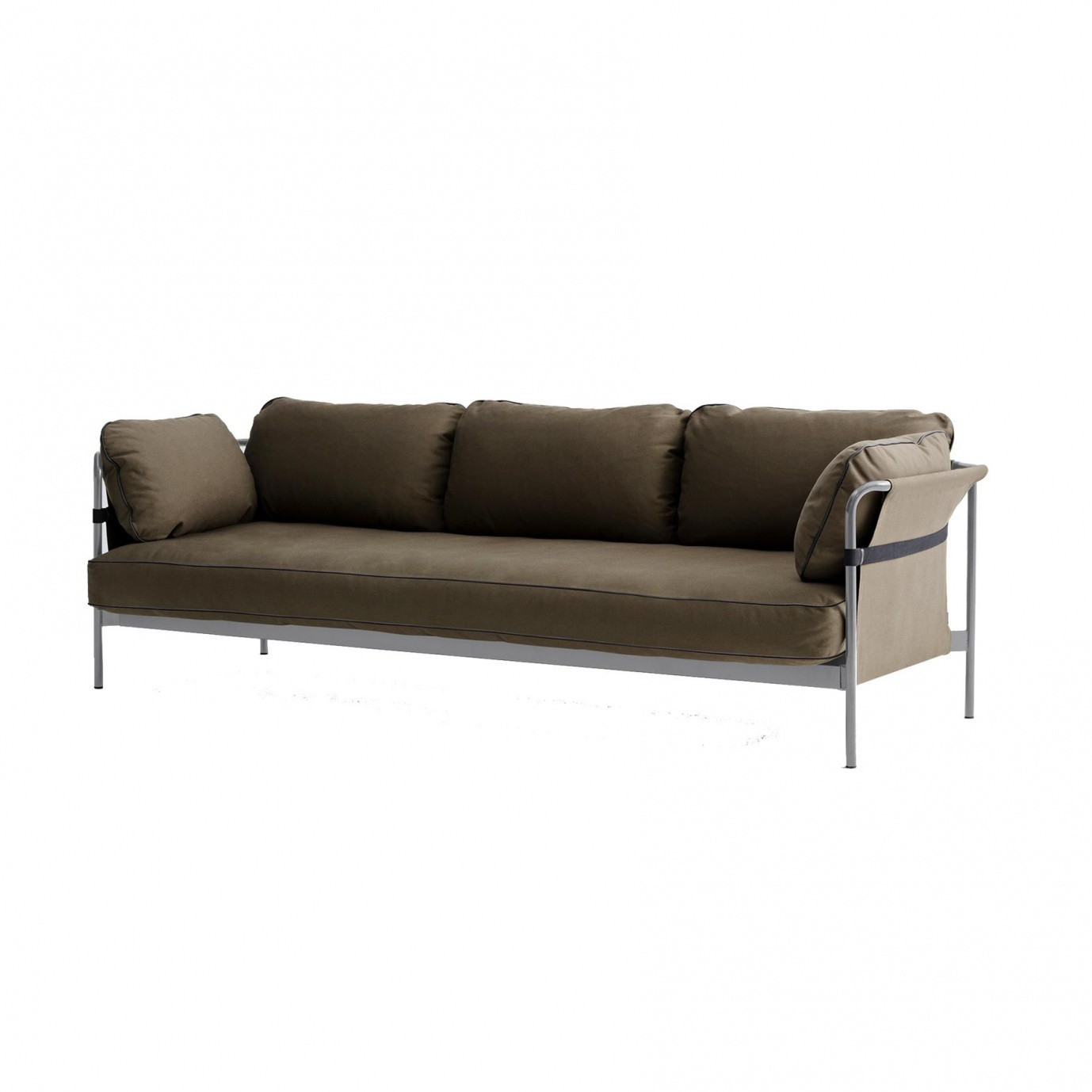 HAY   Can 3 Seater Sofa   Grey Brown/fabric Canvas Army/247x82x89