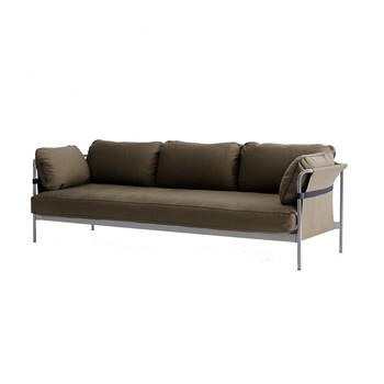 - Can 3-Sitzer Sofa - grau braun/Stoff Canvas army/247x82x89.5cm/Gestell dusty grey/Rück-/Seitenteil Canvas army