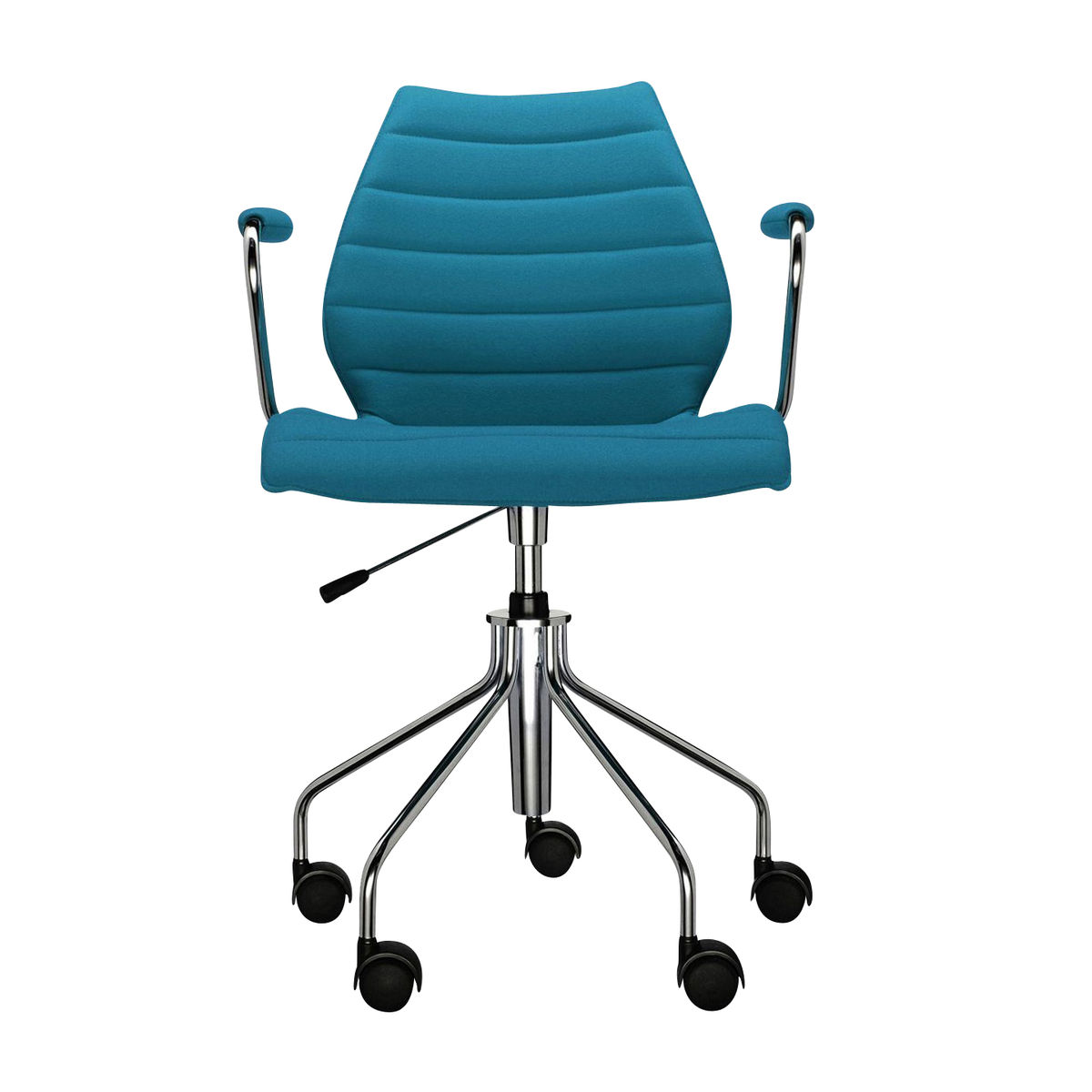 Kartell Maui Soft Office Chair With Armrests Petrol Blue Fabric Trevira Adjule