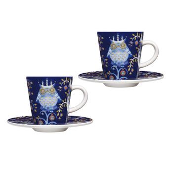 iittala - Taika Espressotassen Set 2tlg. - blau/2 x Tasse 0,1l/2x Teller Ø 11cm