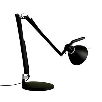 Luceplan - Fortebraccio Tavolo 100W - schwarz/weiche Haptik/mit Tischfuß/mit Schalter
