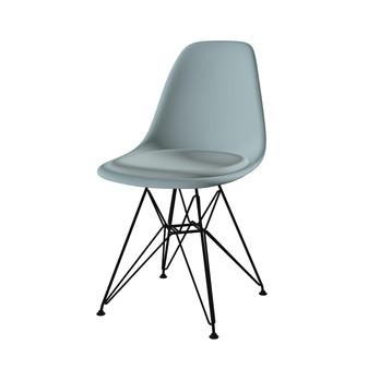Vitra - Eames Plastic Side Chair DSR Stuhl gepolstert - eisgrau/eisblau/Sitzpolster Hopsak 81 eisblau/BxHxT 46,5x83x55cm/Gestell Esche/mit Filzgleitern schwarz