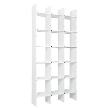 Moormann - FNP Regal System Bicolor - schwarz gefärbtes MDF - weiß/Kante weiß/Materialstärke MDF: 16mm/105x223cm