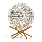 Moooi - Raimond Tensegrity R61 LED Bodenleuchte - edelstahl/Gestell eiche/H 80cm/Ø 61cm/Fußhöhe 26cm/warmweiß/2700K/644lm