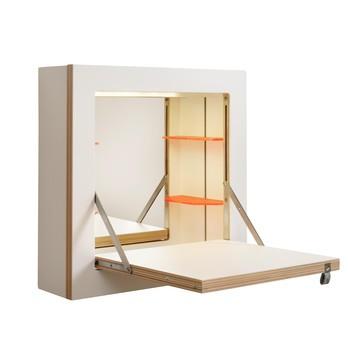 AMBIVALENZ - Fläpps Schminktänk Schminkschrank - weiß/Kante Holz/lackiert/B x H x T: 40 x 40 x 30cm/30 x 30 cm Ablagefläche/inkl Spiegel