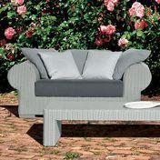 Gervasoni - InOut 601 Poly Rattan Outdoor Sofa 166x107 cm - light grey/dark grey/seat cushion: fabric Smog/feet aluminium/incl. 3 cushions 67x67cm/incl. 2 cushions 52x52cm