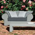Gervasoni - InOut 601 Poly Rattan Outdoor Sofa 166x107 cm - light grey/dark grey/seat cushion: fabric Smog/feet aluminium/incl. 3 cushions 67x67cm/incl. 2 cushions 52x52cm