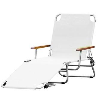 Jan Kurtz - Fiam Amigo Sonnenliege mit Armlehne - weiß/Kunststoffgewebe/BxHxT 69x29x190cm/Gestell Aluminium