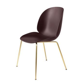 Gubi - Beetle Dining Chair Stuhl Gestell Messing - dunkel pink/Sitz Polypropylen-Kunststoff/BxHxT 56x87x58cm/Gestell Messing