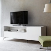 Piure - Nex Pur Box TV-Board 180x63x48cm - weiß/MDF matt lackiert/Füße anthrazit/1 Schublade/1 Fachboden in Türbox
