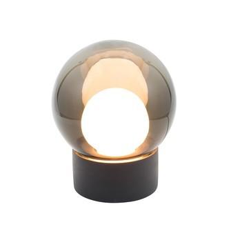 pulpo - Boule Small Tischleuchte - rauchgrau/opal weiß/Sockel schwarz/H 33,5cm / Ø 29cm