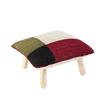 Nanimarquina - Mélange Kilim Woll-Pouf Colour 1 - schwarz-weiß-rot-grün/Polyurethan-Schaum/Dichte: 156.000 Knoten/m2/Gestell Eschenholz/LxBxH 60x60x38cm