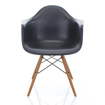Vitra - Eames Plastic Armchair DAW Armlehnstuhl Esche - basic dark schwarz/Gestell Esche honigfarben/Querverstrebungen aus Rundstahl schwarz