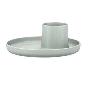 Vitra - O-Tidy Behälter mit Tablett - himmelgrau/Behälter Ø7.5cm/H 8cm/Ø 22cm